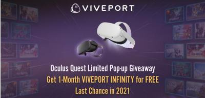 #VIVEPORT4Quest popup giveaway is back for 3-Day only.  Seize the last chance to get 1-month INFINITY for FREE in 2021!